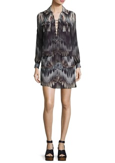 Haute Hippie She Too Will Rise Lace-Up Printed Mini Dress