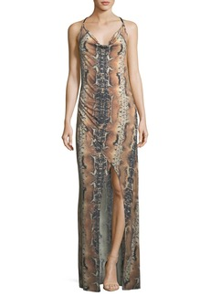 Haute Hippie Sidewinder Cowl-Neck Sleeveless Maxi Dress