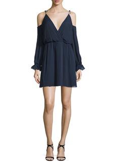 Haute Hippie Silk Cold-Shoulder Blouson Mini Dress