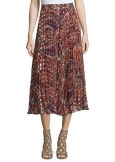 Haute Hippie Silk Sunburst Flare Midi Skirt