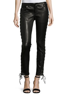 Haute Hippie Skinny-Leg Lamb Leather Pants w/ Lacing