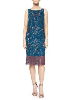 Haute Hippie Sleeveless Embroidered Dress w/ Fringe Hem