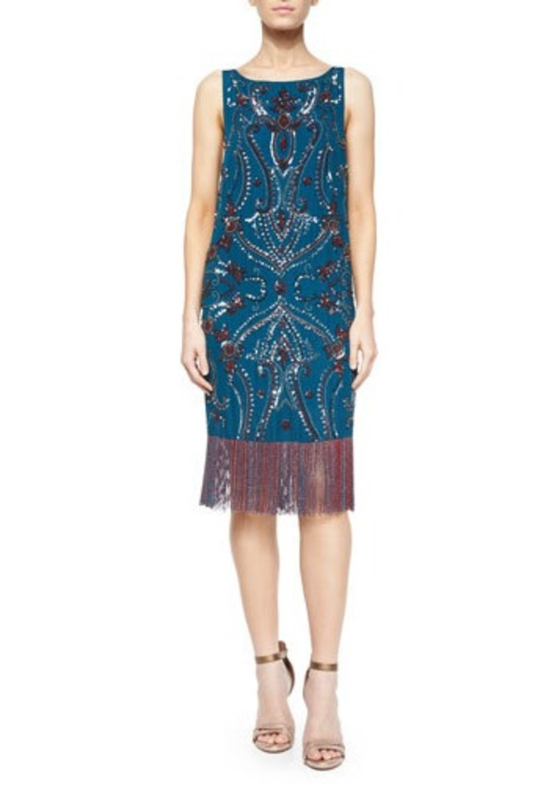 Haute Hippie Sleeveless Embroidered Dress w/ Fringe Hem