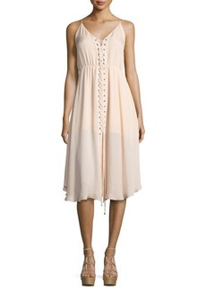 Haute Hippie Sleeveless Laced Silk Dress