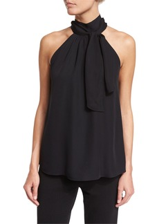 Haute Hippie Sleeveless Silk Tie-Front Top