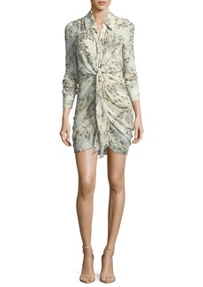 Haute Hippie Snake In The Grass Printed Silk Long-Sleeve Dress