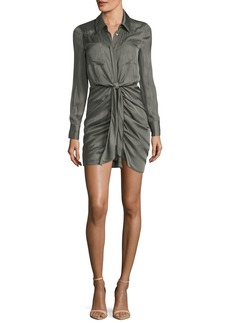Haute Hippie Snake In The Grass Ruched Button-Down Satin Dress