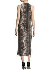 Haute Hippie Snake-Print Grommet/Nailhead Dress