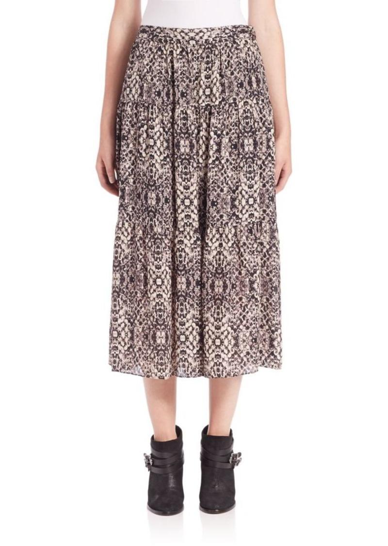 Haute Hippie Snake-Print Silk Midi Skirt