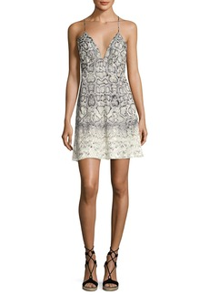 Haute Hippie Snakeskin-Print Slip Dress