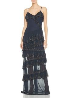 Haute Hippie Socialite Tiered Ruffled Silk Gown