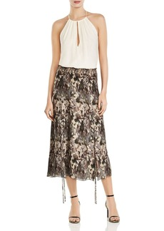 Haute Hippie Solo Printed Lace-Up Silk Midi Skirt