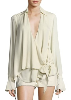 Haute Hippie Stagecoach Long-Sleeve Tie-Front Silk Blouse