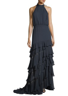 Haute Hippie Stars In The Sky Asymmetric Ruffle Gown