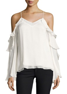 Haute Hippie Starshine Silk Cold-Shoulder Blouse