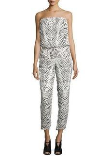 Haute Hippie Strapless Zebra-Print Jumpsuit