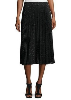 Haute Hippie Sunburst Flare Metallic Polka-Dot Midi Skirt