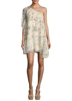 Haute Hippie Take It Easy One-Shoulder Silk Mini Dress