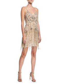 Haute Hippie Taken Fringe V-Neck Sleeveless Mini Dress