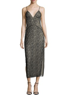 Haute Hippie Tess V-Neck Sleeveless Floral-Lace Cocktail Dress