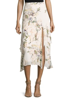 Haute Hippie The Garden Floral Silk Midi Skirt