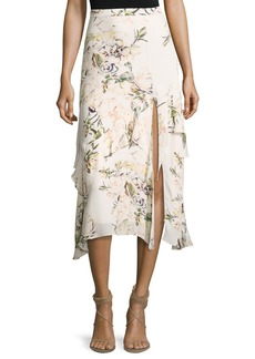 Haute Hippie The Garden Floral Silk Midi Skirt