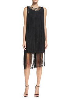 Haute Hippie The Greatest Show on Earth Sleeveless Fringed Cocktail Dress