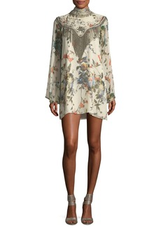 Haute Hippie Through The Looking Glass Bell-Sleeve Floral-Print Silk Dress
