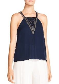Haute Hippie Through The Looking Glass Embellished Silk Top