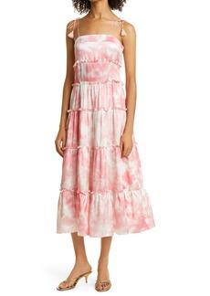 Haute Hippie Tie Dye Tiered Silk Satin Dress