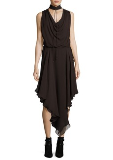 Haute Hippie Twilight Sleeveless Choker Silk Midi Dress