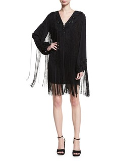 Haute Hippie V-Neck Lace-Up Fringe Cocktail Dress