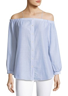 Haute Hippie Vivien Button-Down Striped Poplin Top