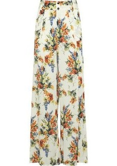 Haute Hippie Woman Annie Floral-print Crepe De Chine Wide-leg Pants Off-white