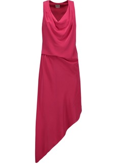 Haute Hippie Woman Asymmetric Draped Silk-crepe Dress Fuchsia