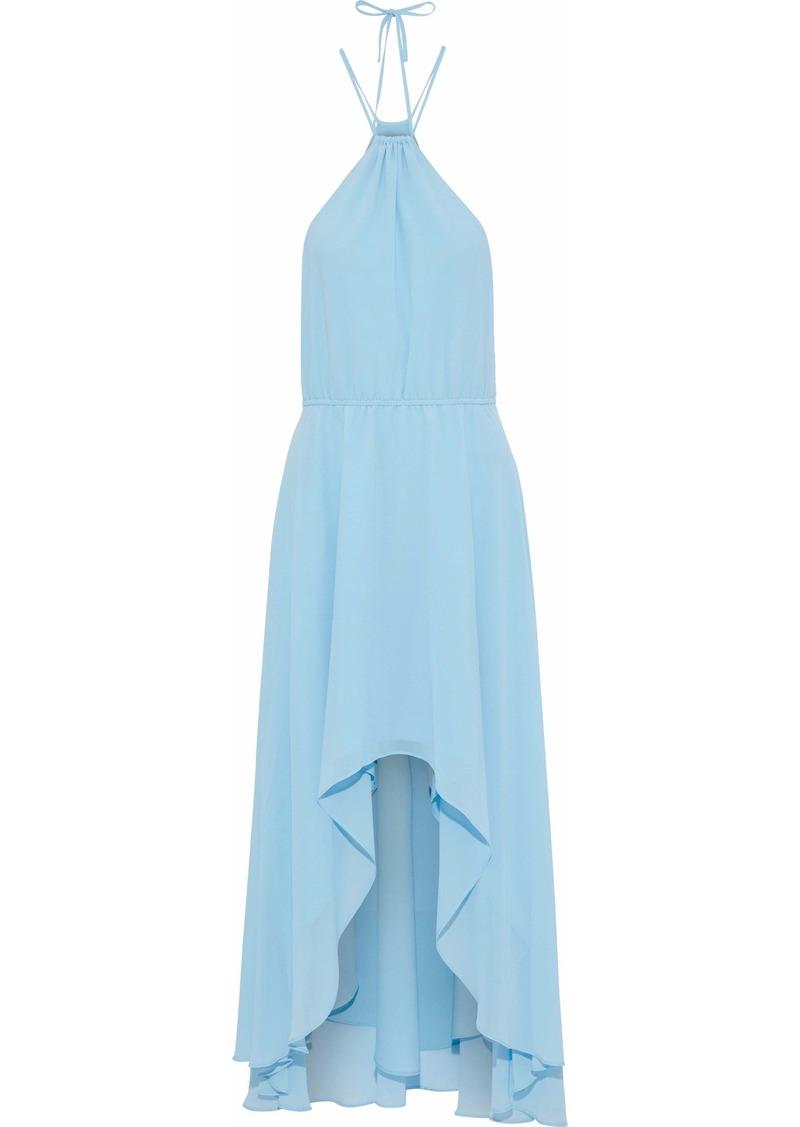 Haute Hippie Woman Asymmetric Gathered Chiffon Dress Sky Blue
