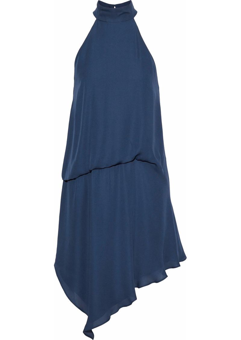 Haute Hippie Woman Asymmetric Gathered Silk Crepe De Chine Mini Dress Cobalt Blue