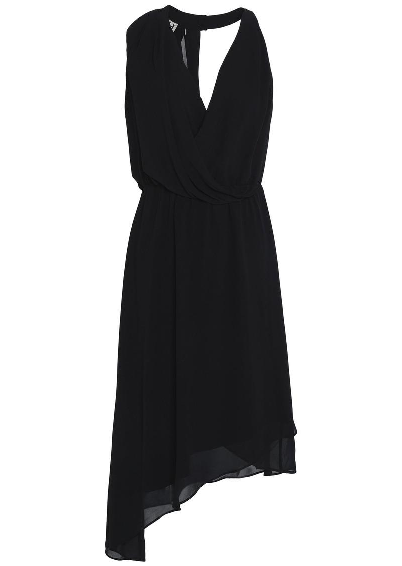 Haute Hippie Woman Wrap-effect Asymmetric Cutout Crepe De Chine Dress Black