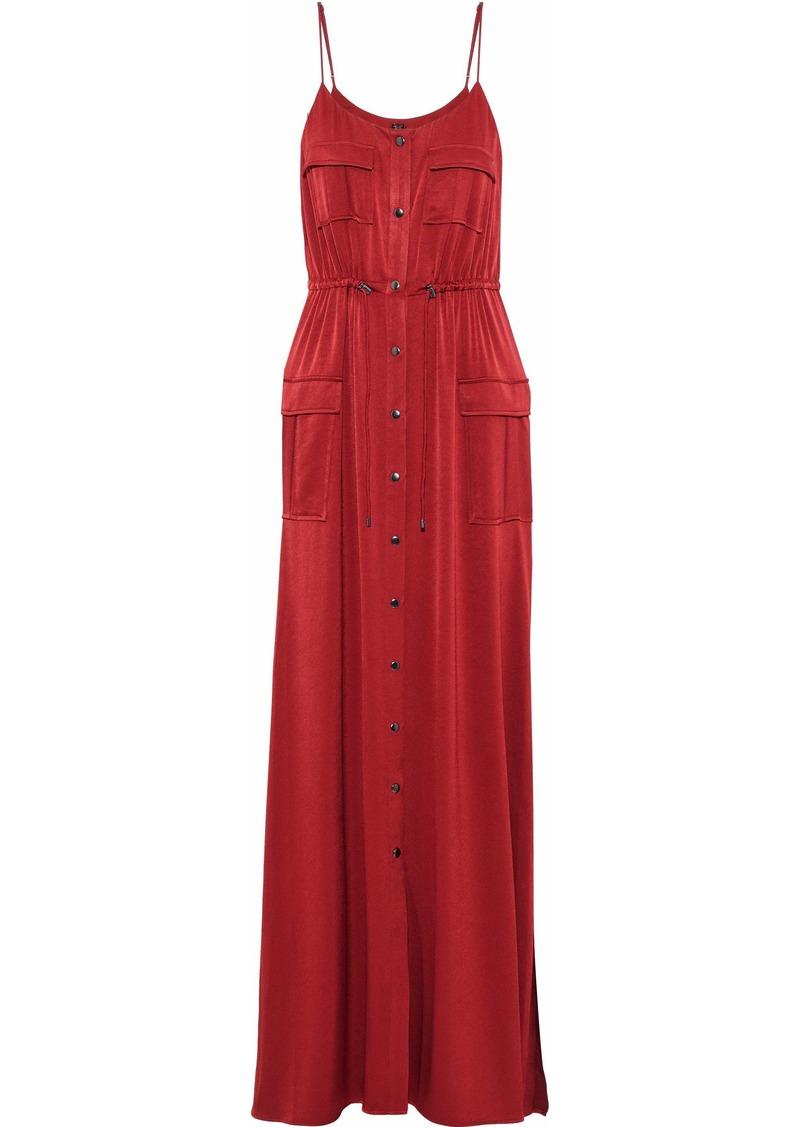 Haute Hippie Woman Born Again Safari Snap-detailed Washed-satin Maxi Dress Crimson