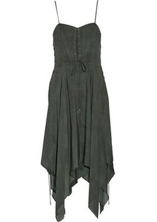 19601fd2795 Haute Hippie Woman Brownstone Lace-up Asymmetric Silk Crepe De Chine Dress  Army Green