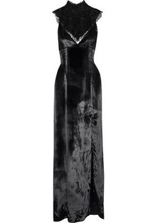 Haute Hippie Woman Embellished Chantilly Lace-paneled Velvet Gown Black