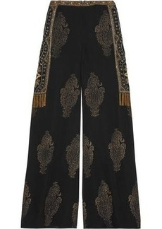 Haute Hippie Woman Embellished Silk-chiffon Wide-leg Pants Black