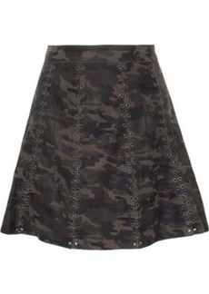 Haute Hippie Woman Eyelet-embellished Printed Leather Mini Skirt Army Green