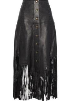 Haute Hippie Woman Fringe-trimmed Leather Midi Skirt Black