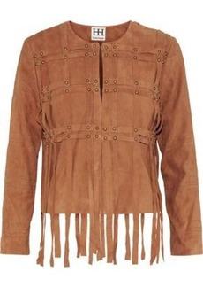 Haute Hippie Woman Fringe-trimmed Studded Suede Jacket Light Brown