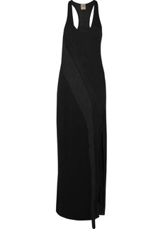 Haute Hippie Woman Fringed Macramé-trimmed Stretch-jersey Maxi Dress Black