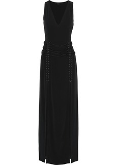 Haute Hippie Woman Lace-up Crepe De Chine Gown Black