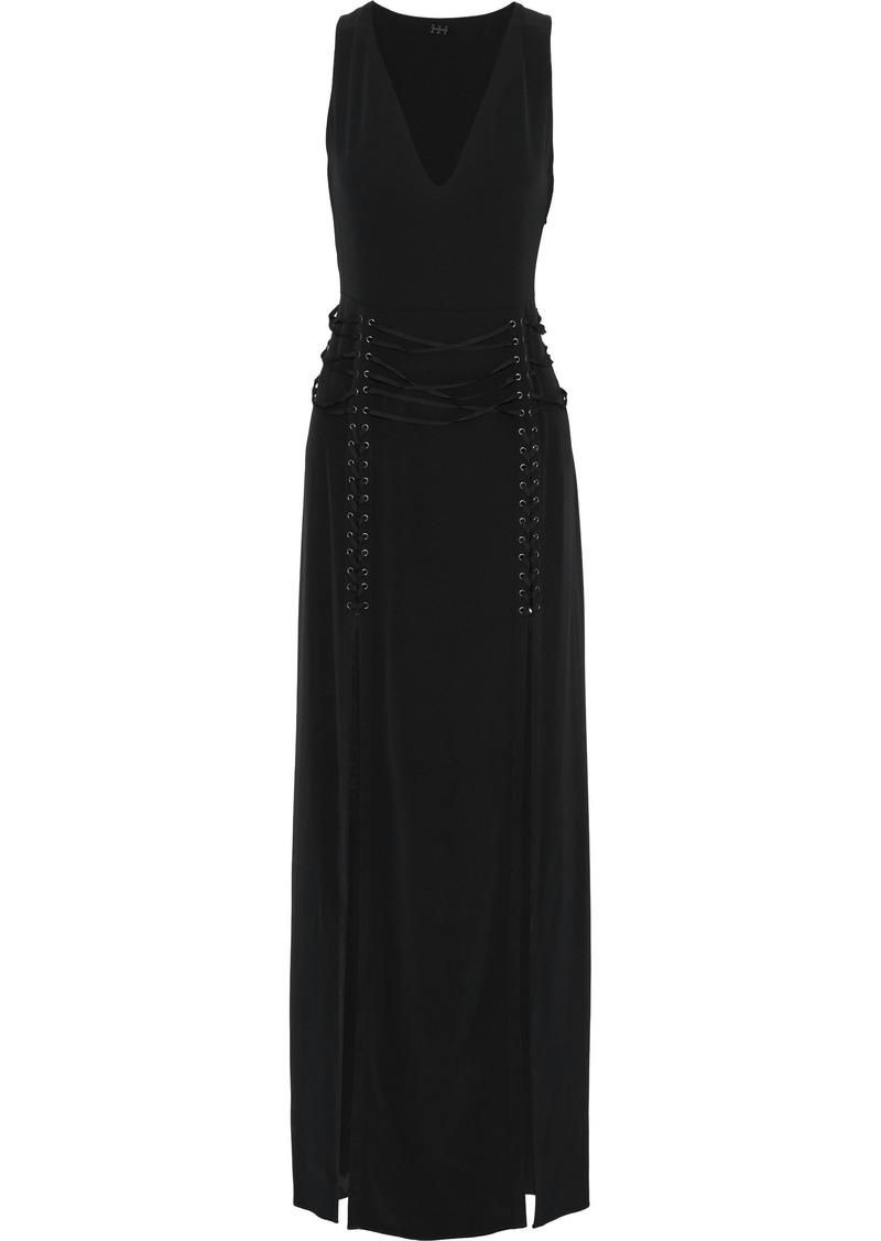 Haute Hippie Woman Lace-up Crepe De Chine Gown Black
