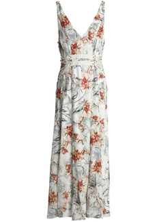Haute Hippie Woman Lace-up Printed Silk Midi Dress Off-white