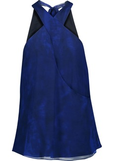 Haute Hippie Woman Narcissus Crossover Printed Silk-chiffon Top Royal Blue